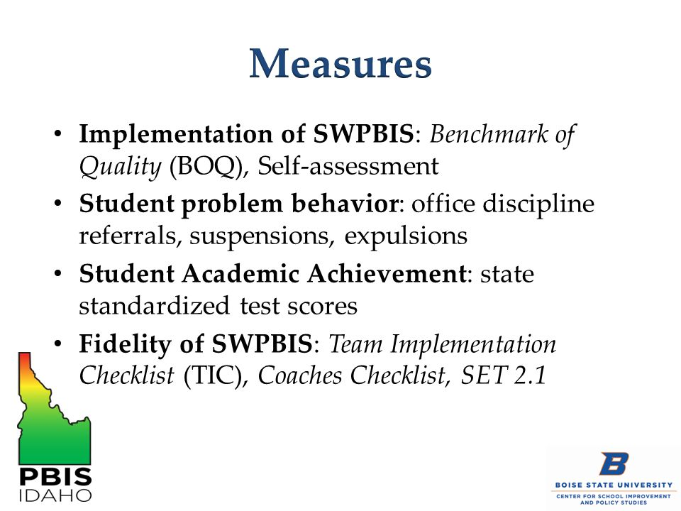 Implementation of SWPBIS: Benchmark of Quality (BOQ), Self-assessment Student problem behavior: office discipline referrals, suspensions, expulsions Student Academic Achievement: state standardized test scores Fidelity of SWPBIS: Team Implementation Checklist (TIC), Coaches Checklist, SET 2.1