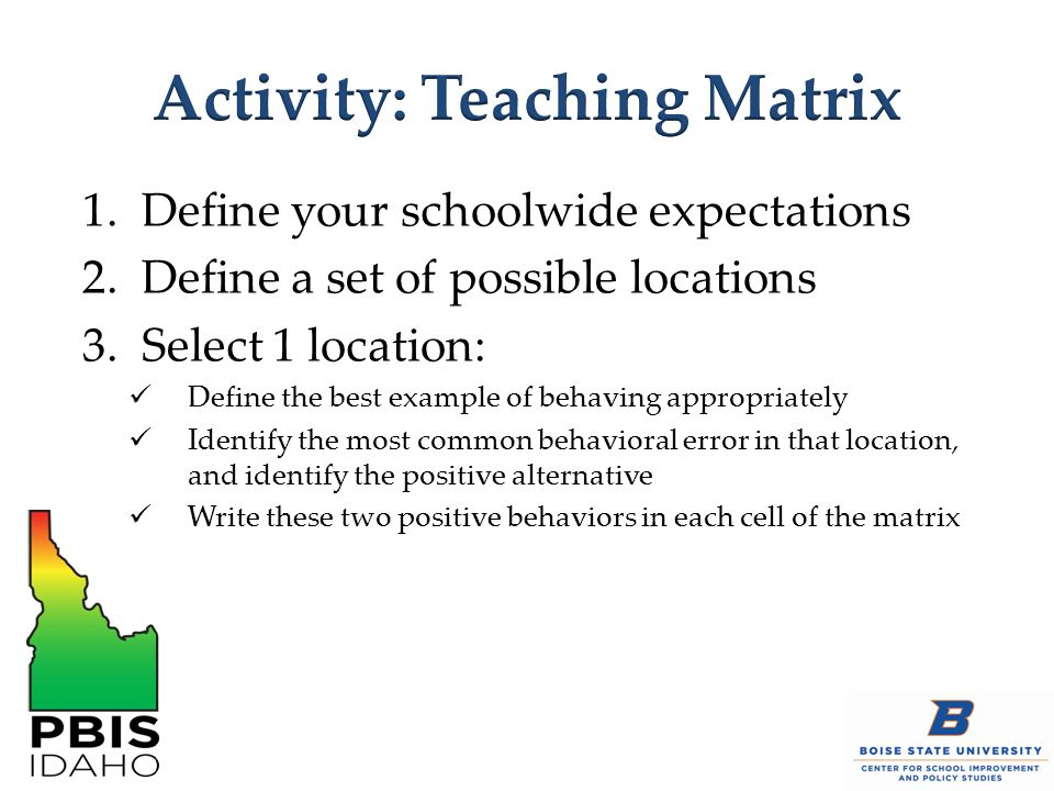 1.Define your schoolwide expectations 2.Define a set of possible locations 3.Select 1 location: Define the best example of behaving appropriately Identify the most common behavioral error in that location, and identify the positive alternative Write these two positive behaviors in each cell of the matrix