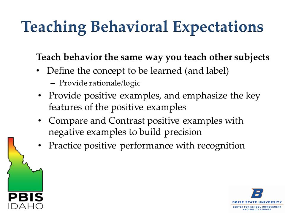 Teach behavior the same way you teach other subjects Define the concept to be learned (and label) – Provide rationale/logic Provide positive examples, and emphasize the key features of the positive examples Compare and Contrast positive examples with negative examples to build precision Practice positive performance with recognition