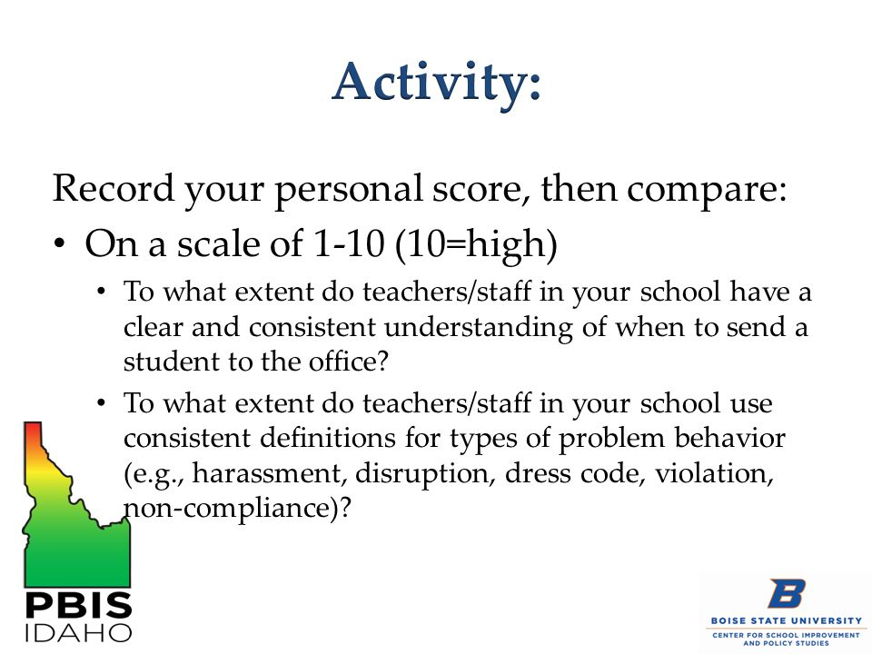 Record your personal score, then compare: On a scale of 1-10 (10=high) To what extent do teachers/staff in your school have a clear and consistent understanding of when to send a student to the office.