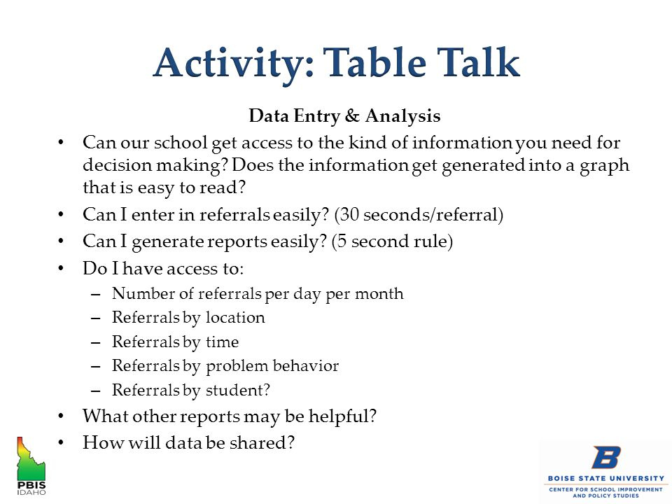 Data Entry & Analysis Can our school get access to the kind of information you need for decision making.