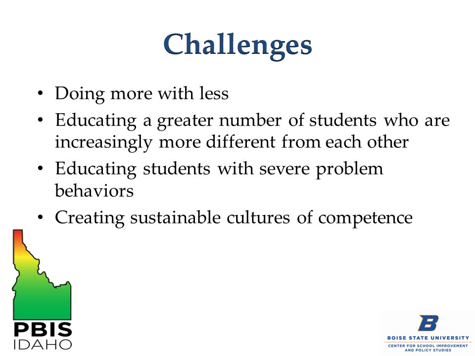 1.Structure, predictability, and consistency 2.Immediate, frequent, and specific feedback with consequences 3.Academic success 4.Responsibility and independence 5.Positive problem solving 6.Positive alternatives 7.Enhanced self- confidence 8.Positive school-to- home support systems 9.Documented positive change Hierck, Coleman, & Weber, 2011