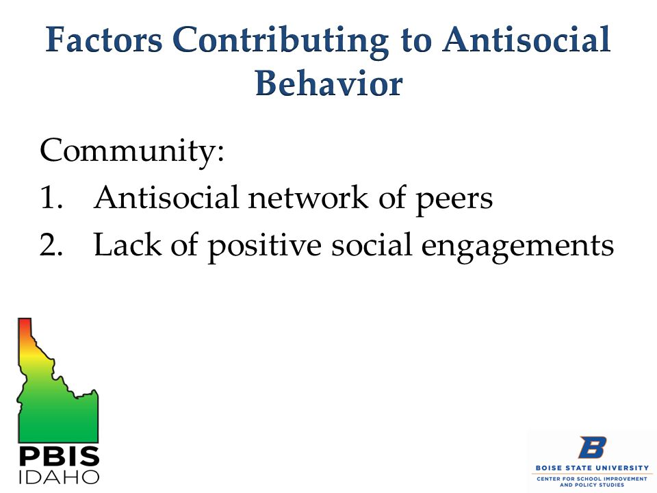 Community: 1.Antisocial network of peers 2.Lack of positive social engagements