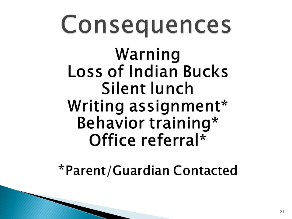 Warning Loss of Indian Bucks Silent lunch Writing assignment* Behavior training* Office referral* * Parent/Guardian Contacted 21