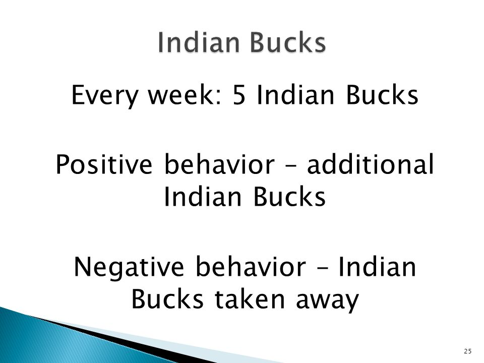 Every week: 5 Indian Bucks Positive behavior – additional Indian Bucks Negative behavior – Indian Bucks taken away 25