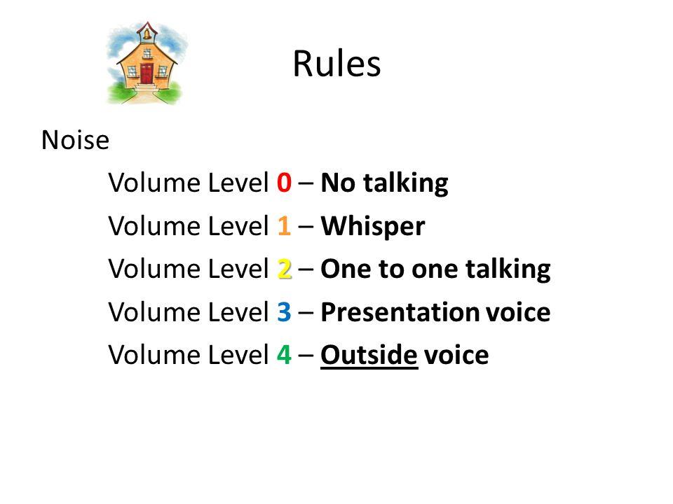 Noise Volume Level 0 – No talking Volume Level 1 – Whisper 2 Volume Level 2 – One to one talking Volume Level 3 – Presentation voice Volume Level 4 – Outside voice Rules