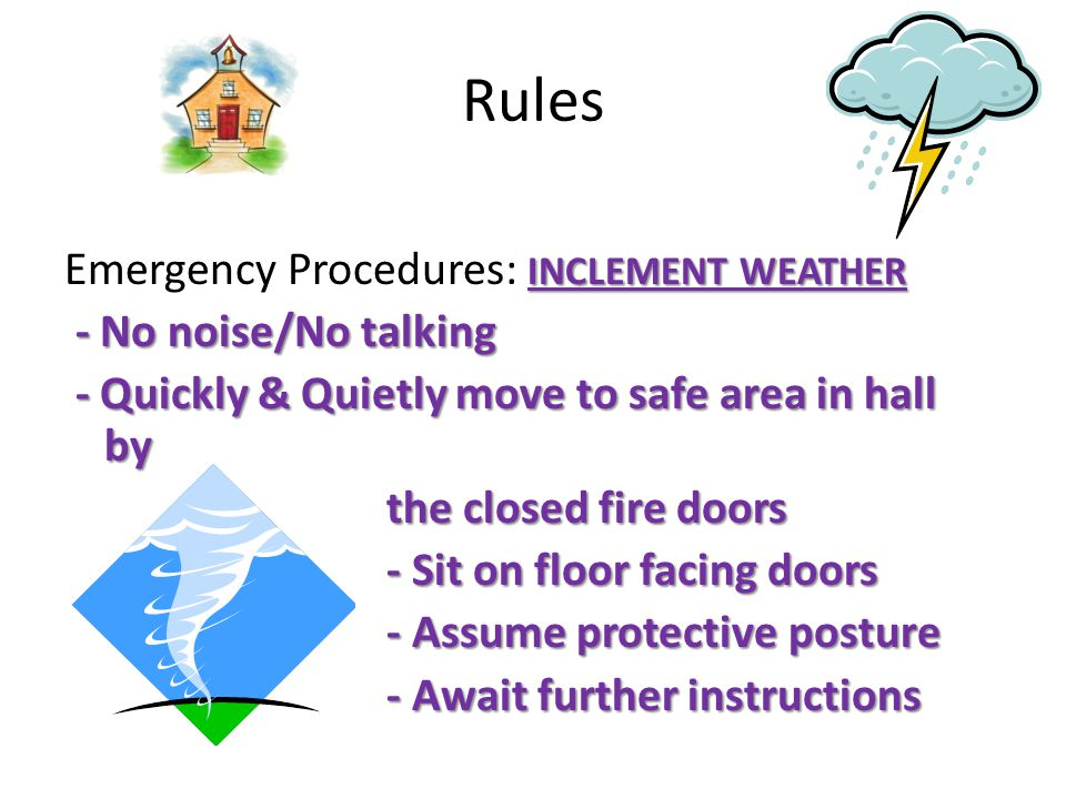 Rules FIRE Emergency Procedures: FIRE - No Talking/No noise - No Talking/No noise - Take Red Back Pack - Take Red Back Pack - Follow Escape route (Primary) - Follow Escape route (Primary) - Stay together as a class - Stay together as a class - Stop at the assemble area (Face - Stop at the assemble area (Face away from school) away from school) - Account for all students - Account for all students - No Talking/No noise - No Talking/No noise - Await further instructions - Await further instructions