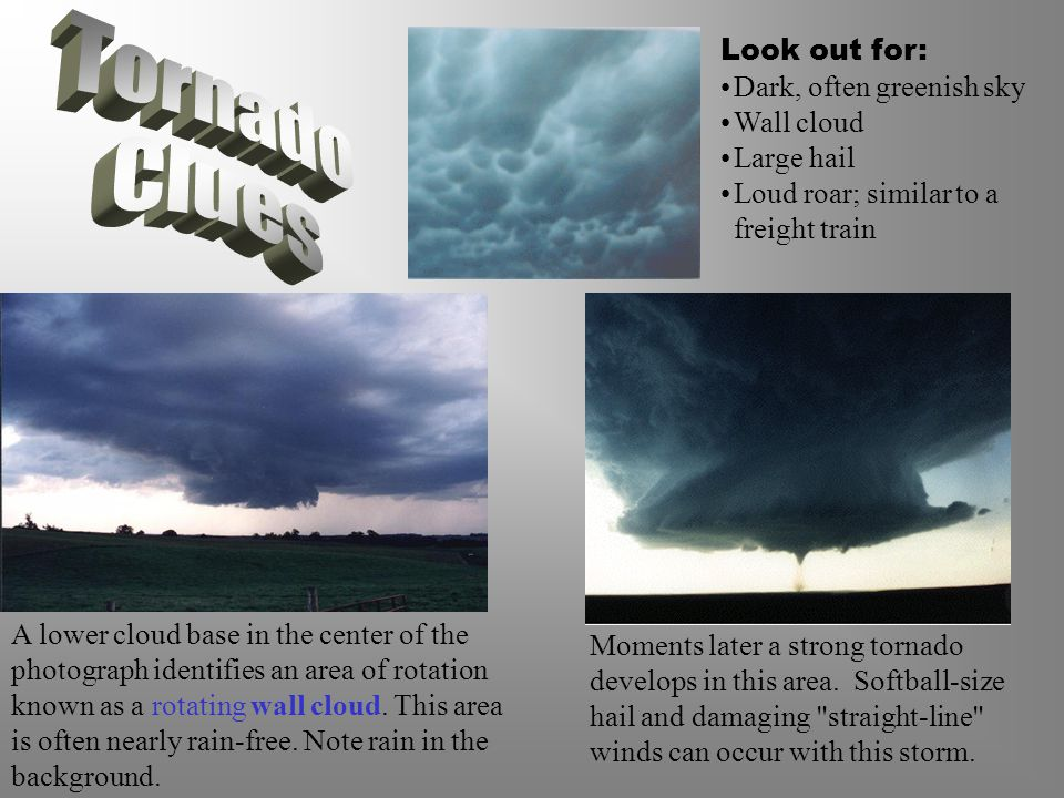 A lower cloud base in the center of the photograph identifies an area of rotation known as a rotating wall cloud.
