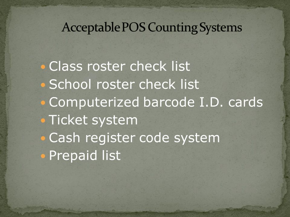 Class roster check list School roster check list Computerized barcode I.D.