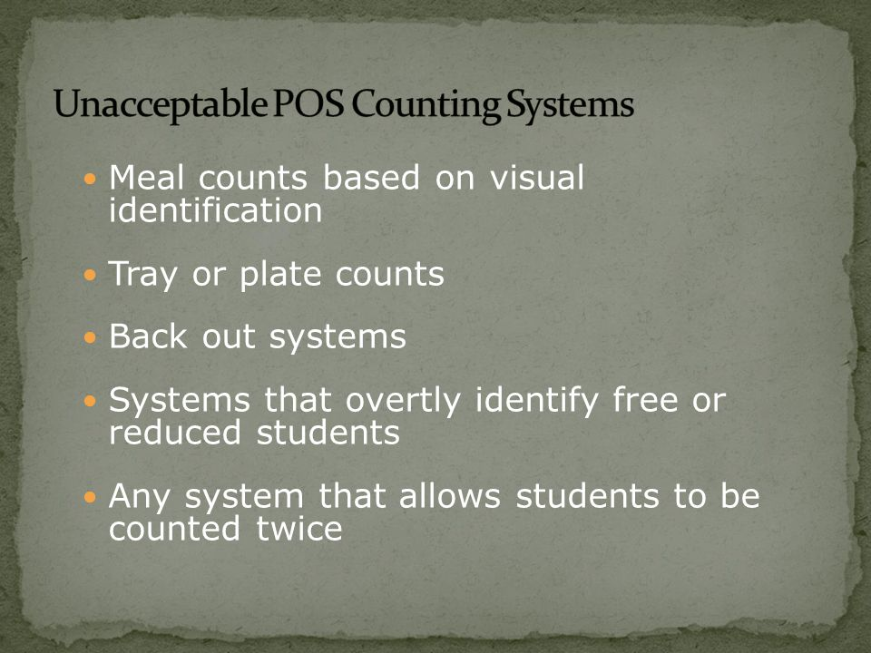 Daily counts must be taken at the point of service regardless of the serving method: Traditional breakfast in the cafeteria In the classroom during school hours Grab n' Go from a central location In the hallway Mid-morning, after 1 st period Breakfast has the same standards for counting meals as Lunch