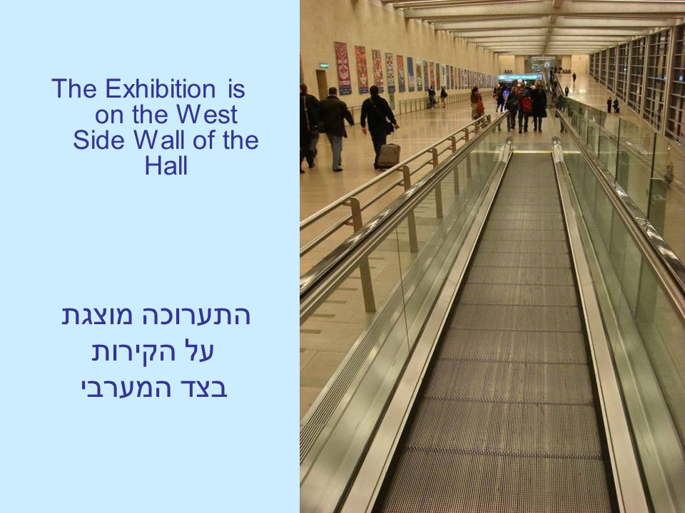 The Exhibition is on the West Side Wall of the Hall התערוכה מוצגת על הקירות בצד המערבי