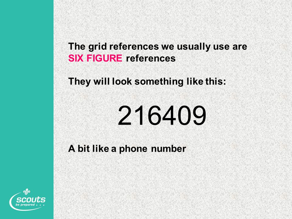 The grid references we usually use are SIX FIGURE references They will look something like this: 216409 A bit like a phone number
