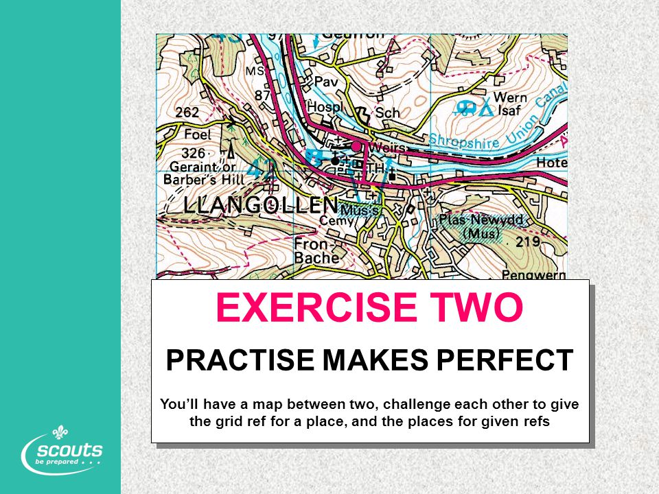 EXERCISE TWO PRACTISE MAKES PERFECT You'll have a map between two, challenge each other to give the grid ref for a place, and the places for given ref
