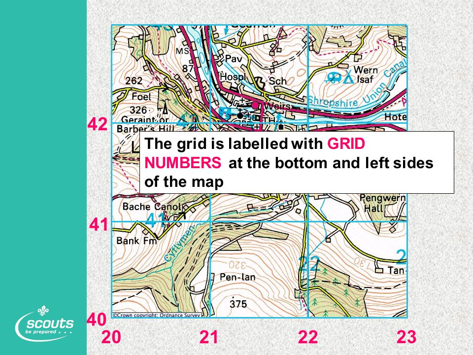 The grid is labelled with GRID NUMBERS at the bottom and left sides of the map 20 2122 23 40 41 42