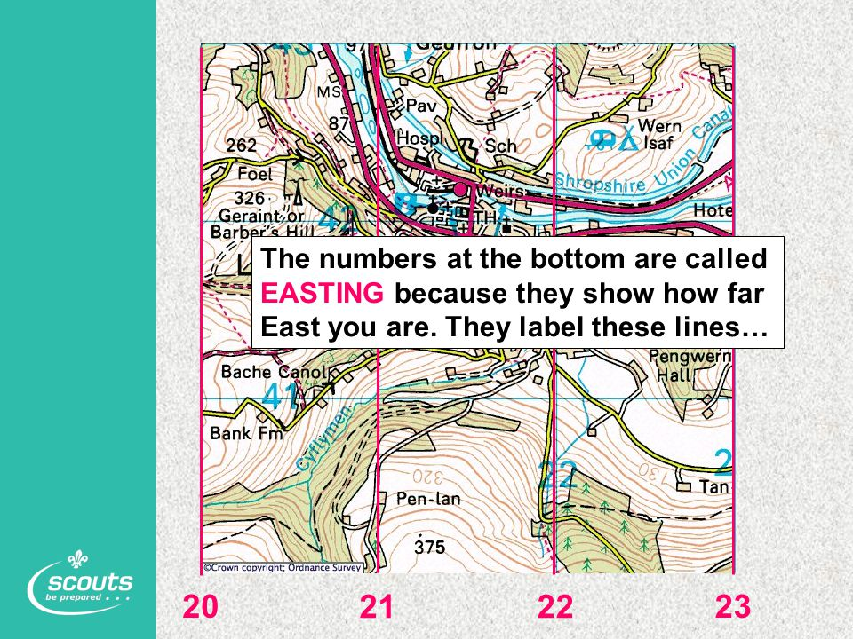 20 2122 23 The numbers at the bottom are called EASTING because they show how far East you are. They label these lines…