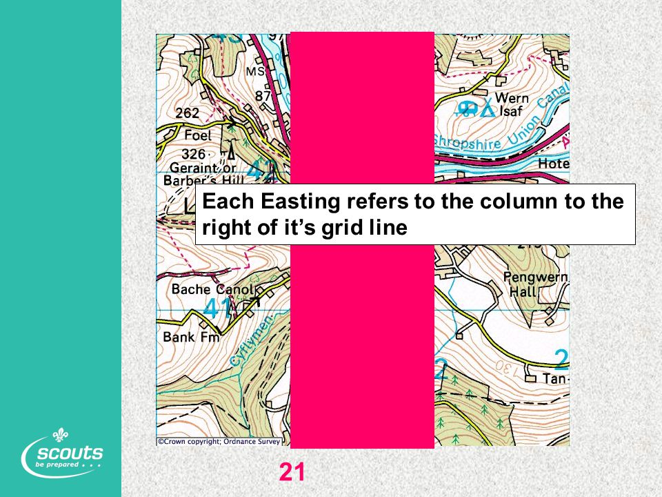 21 Each Easting refers to the column to the right of it's grid line