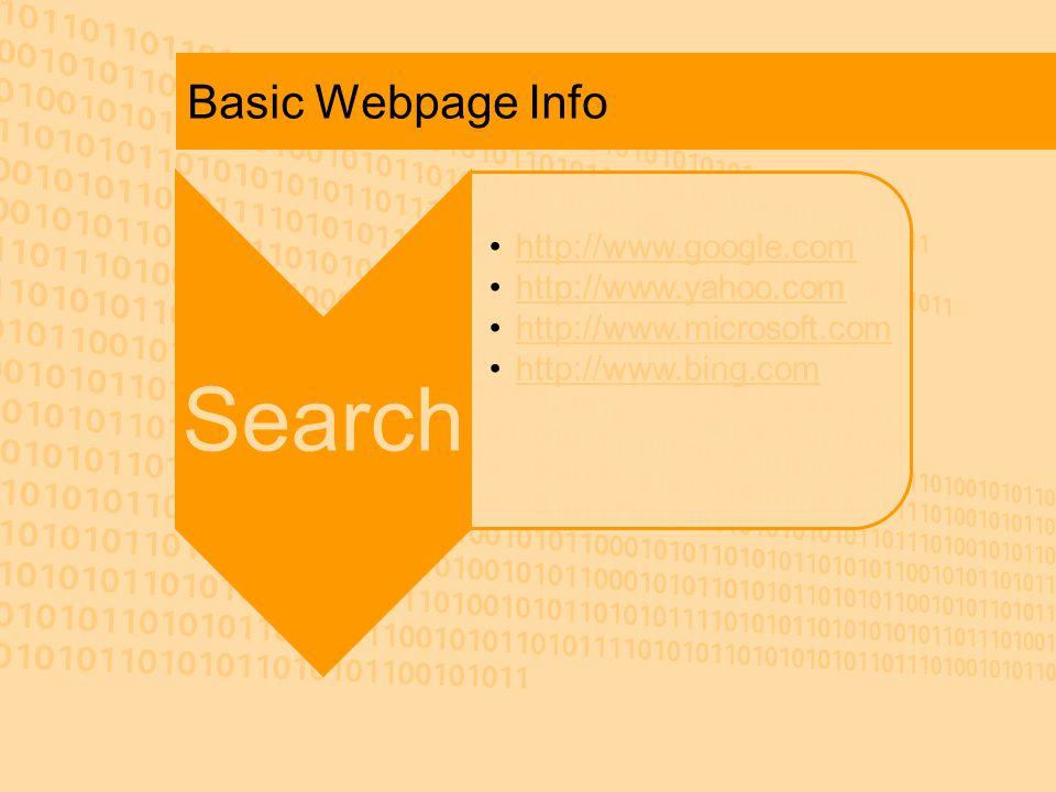 Basic Webpage Info Search http://www.google.com http://www.yahoo.com http://www.microsoft.c omhttp://www.microsoft.c om http://www.bing.com