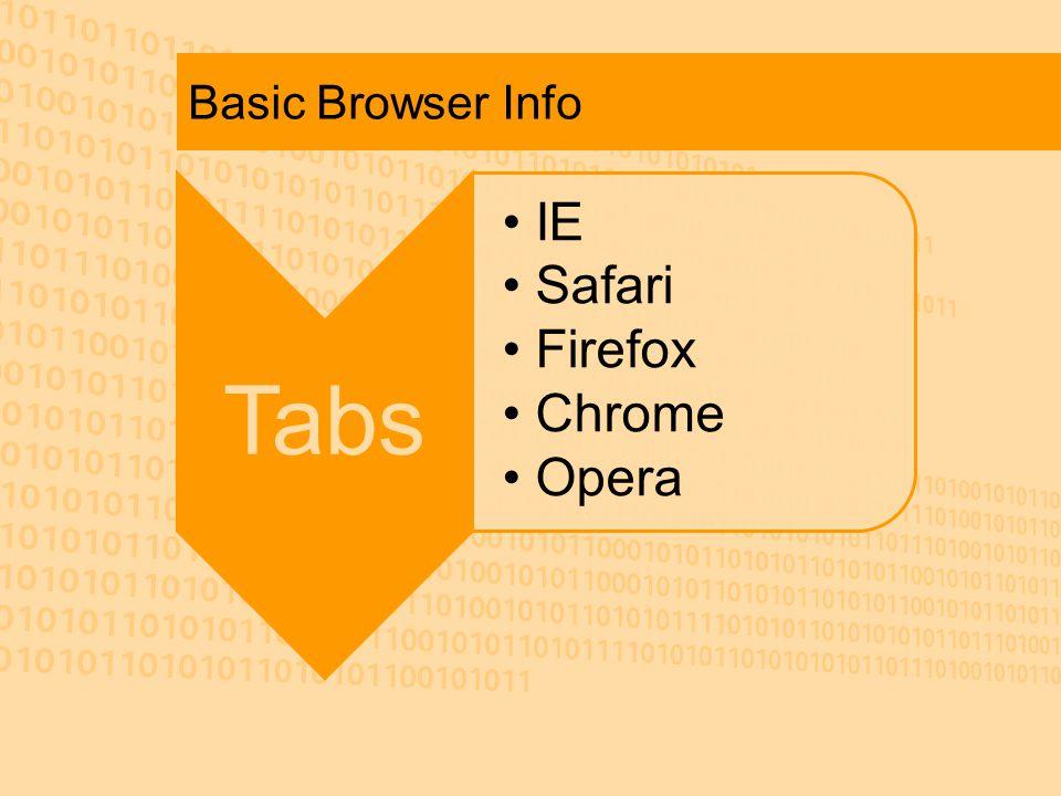 Basic Browser Info Tabs IE Safari Firefox Chrome Opera