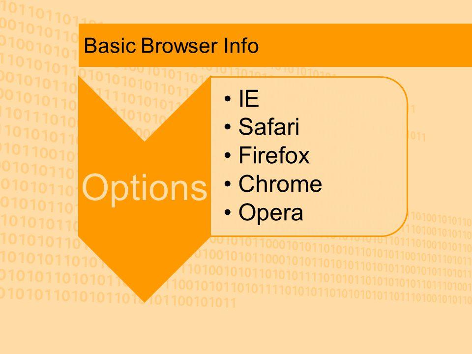 Basic Browser Info Options IE Safari Firefox Chrome Opera