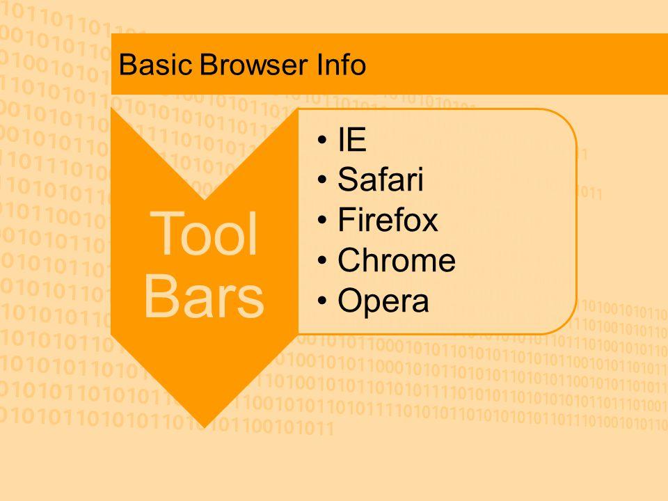 Basic Browser Info Tool Bars IE Safari Firefox Chrome Opera