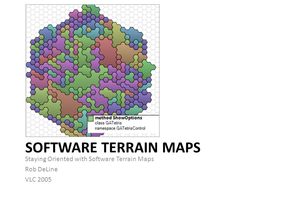 SOFTWARE TERRAIN MAPS Staying Oriented with Software Terrain Maps Rob DeLine VLC 2005