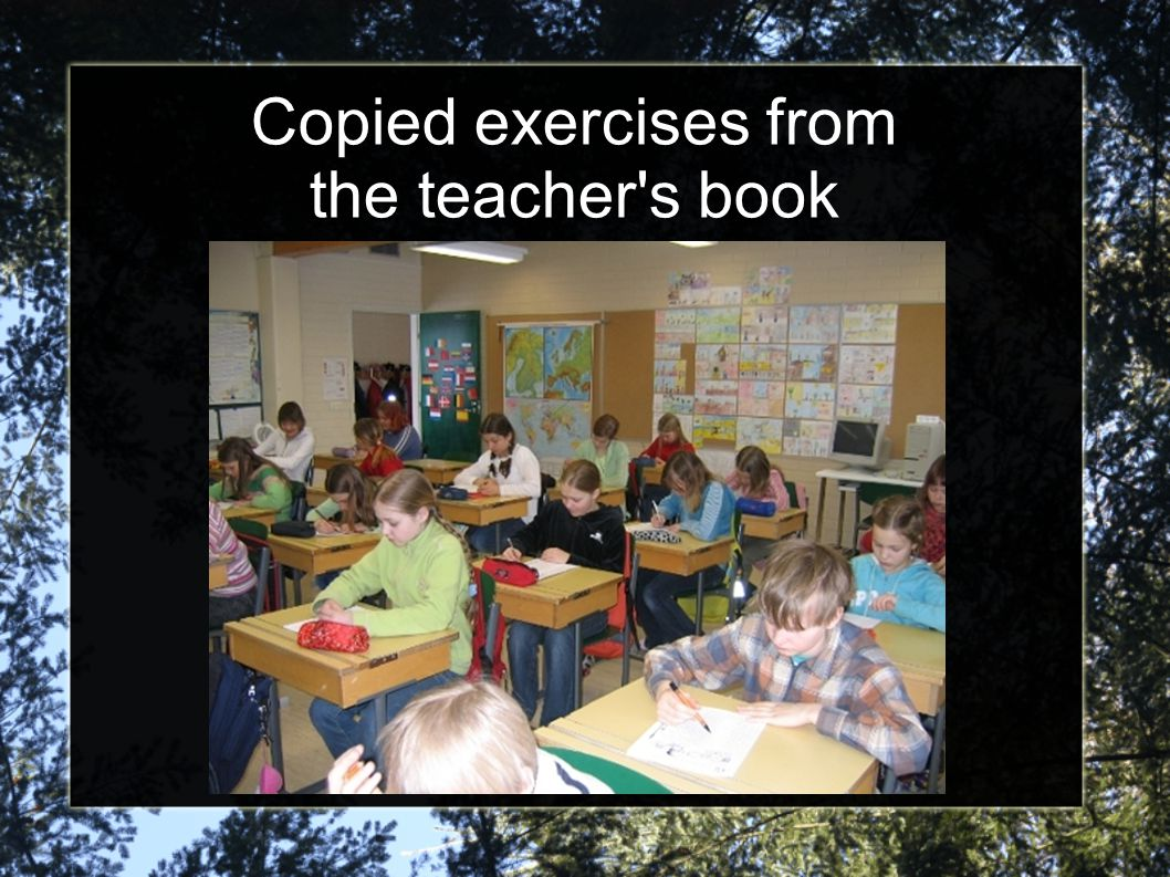 Copied exercises from the teacher's book