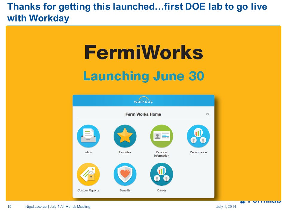 Thanks for getting this launched…first DOE lab to go live with Workday July 1, 2014Nigel Lockyer | July 1 All-Hands Meeting10
