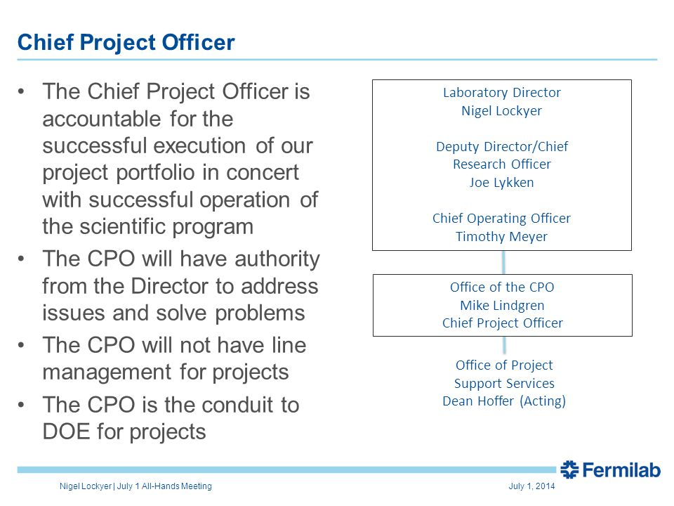 The Chief Project Officer is accountable for the successful execution of our project portfolio in concert with successful operation of the scientific