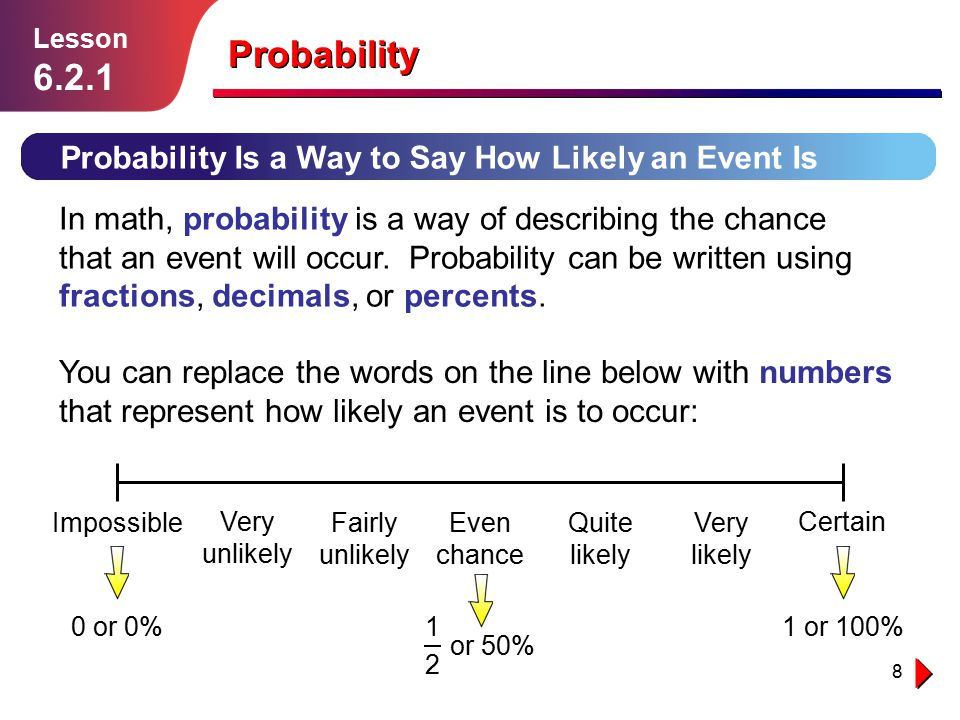 8 Probability Probability Is a Way to Say How Likely an Event Is Lesson 6.2.1 In math, probability is a way of describing the chance that an event wil