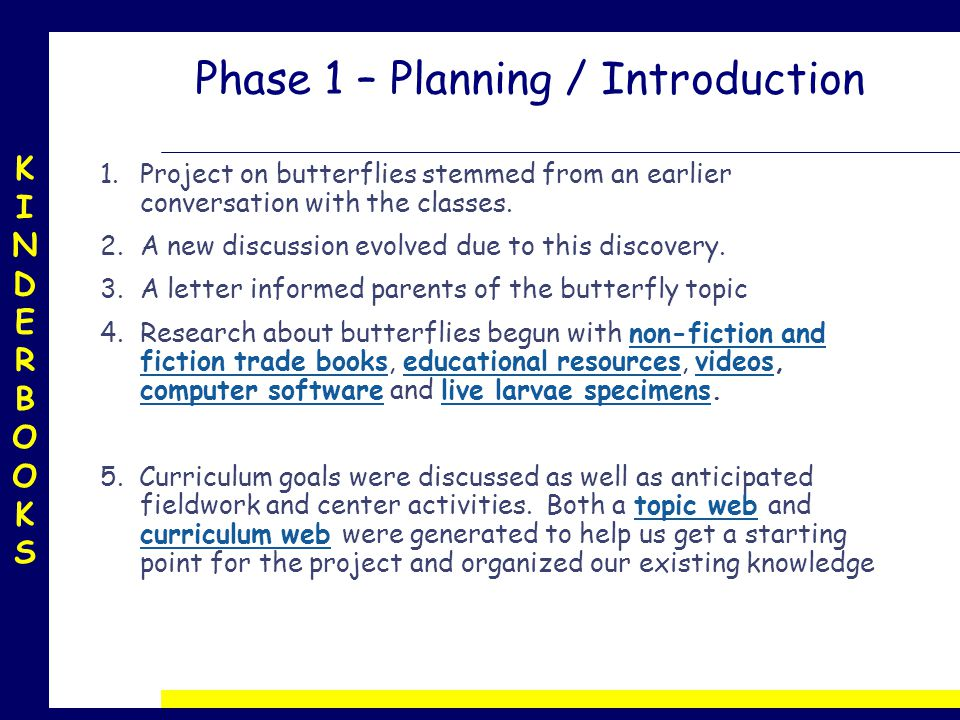 KINDERBOOKSKINDERBOOKS Phase 1 – Planning / Introduction 1.Project on butterflies stemmed from an earlier conversation with the classes.