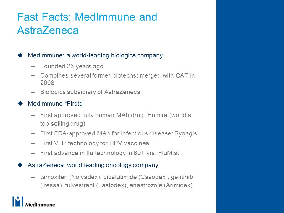 Fast Facts: MedImmune and AstraZeneca  MedImmune: a world-leading biologics company –Founded 25 years ago –Combines several former biotechs; merged with CAT in 2008 –Biologics subsidiary of AstraZeneca  MedImmune Firsts –First approved fully human MAb drug: Humira (world's top selling drug) –First FDA-approved MAb for infectious disease: Synagis –First VLP technology for HPV vaccines –First advance in flu technology in 60+ yrs: FluMist  AstraZeneca: world leading oncology company –tamoxifen (Nolvadex), bicalutimide (Casodex), gefitinib (Iressa), fulvestrant (Faslodex), anastrozole (Arimidex)