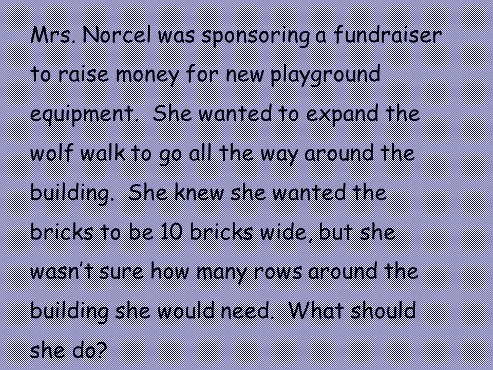 Mrs. Norcel was sponsoring a fundraiser to raise money for new playground equipment.