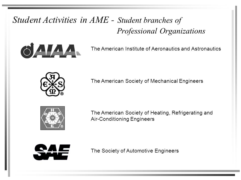 Student Activities in AME - Student branches of Professional Organizations The American Institute of Aeronautics and Astronautics The American Society of Mechanical Engineers The Society of Automotive Engineers The American Society of Heating, Refrigerating and Air-Conditioning Engineers