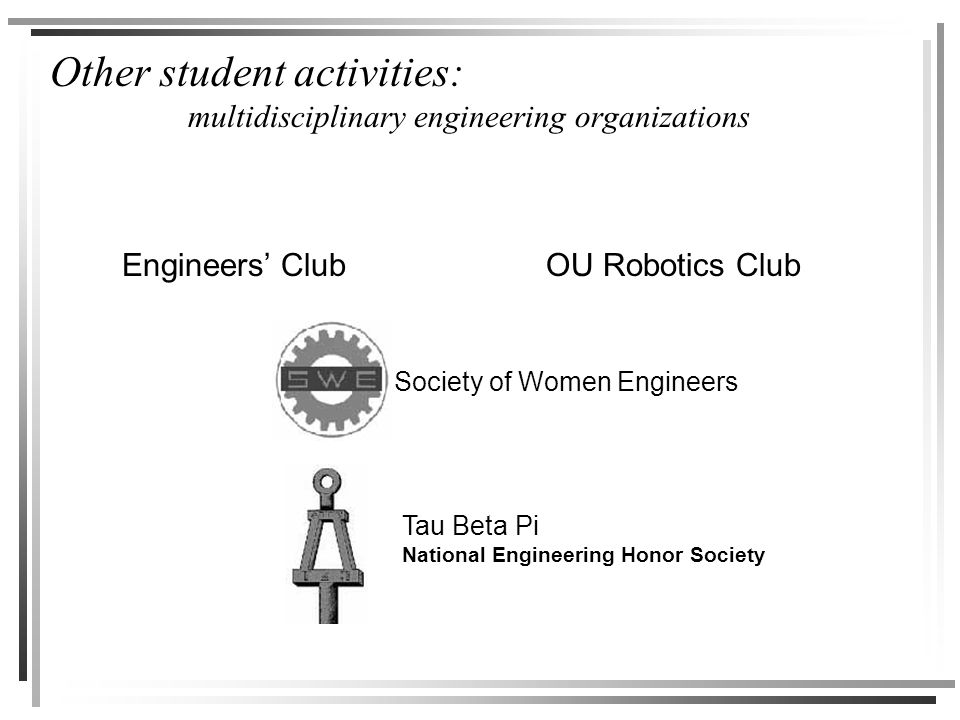 Other student activities: multidisciplinary engineering organizations Engineers' ClubOU Robotics Club Tau Beta Pi National Engineering Honor Society Society of Women Engineers