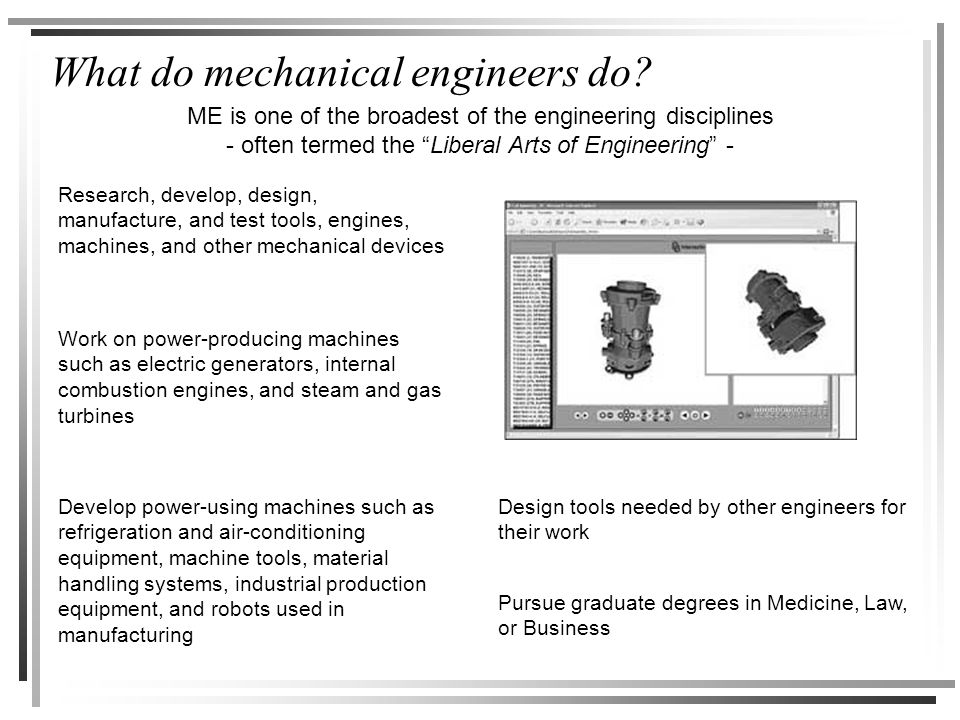 "What do mechanical engineers do? ME is one of the broadest of the engineering disciplines - often termed the ""Liberal Arts of Engineering"" - Research,"