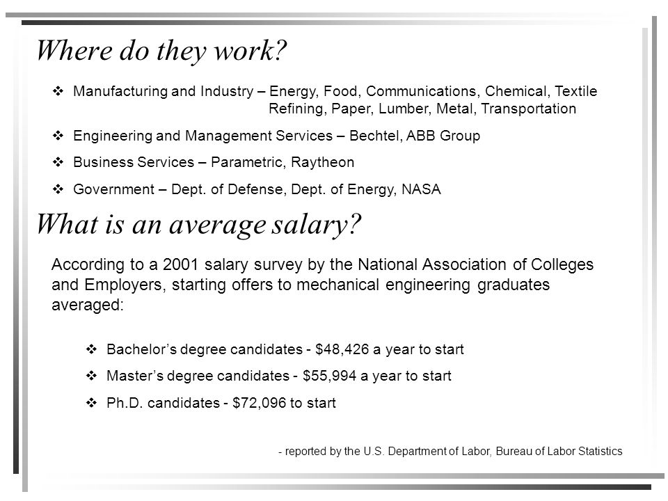 Where do they work. What is an average salary.