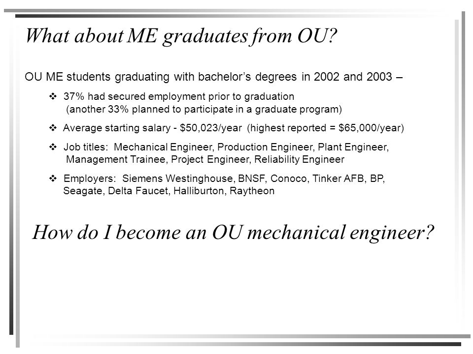 What about ME graduates from OU? How do I become an OU mechanical engineer? OU ME students graduating with bachelor's degrees in 2002 and 2003 –  37%