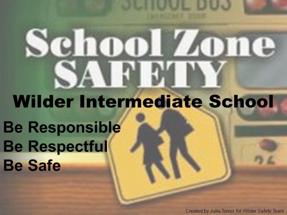Wilder Intermediate School Be Responsible Be Respectful Be Safe Created by Julia Torres for Wilder Safety Team