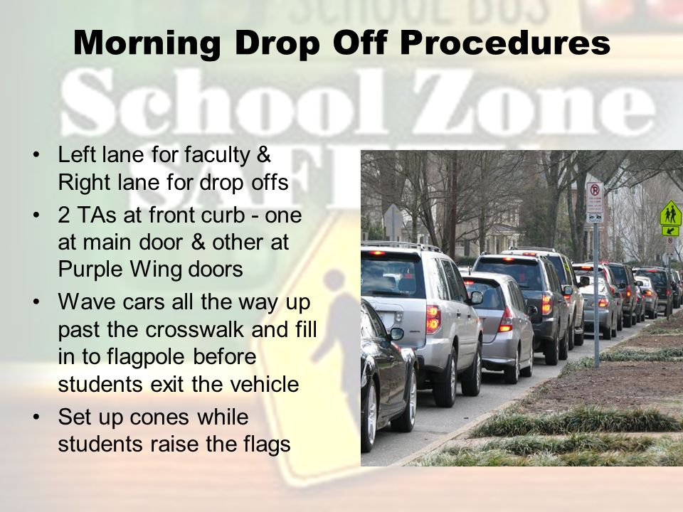 Afternoon Pick Up Procedures Both lanes open - pick up cards required for the first 3 weeks 2 TAs on duty plus any teachers assigned TAs are in street at crosswalk and flagpole to direct cars Teachers are on curb to monitor students