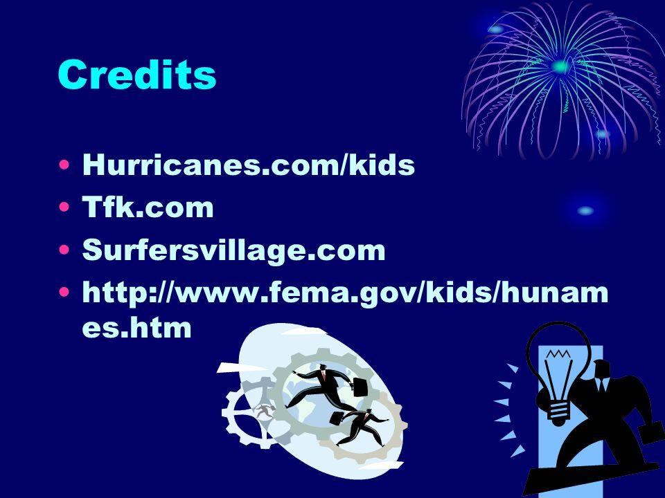 Credits Hurricanes.com/kids Tfk.com Surfersvillage.com http://www.fema.gov/kids/hunam es.htm