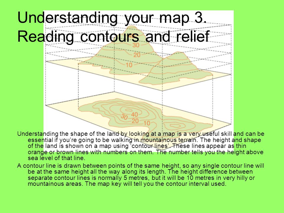 Understanding your map 3. Reading contours and relief Understanding the shape of the land by looking at a map is a very useful skill and can be essent