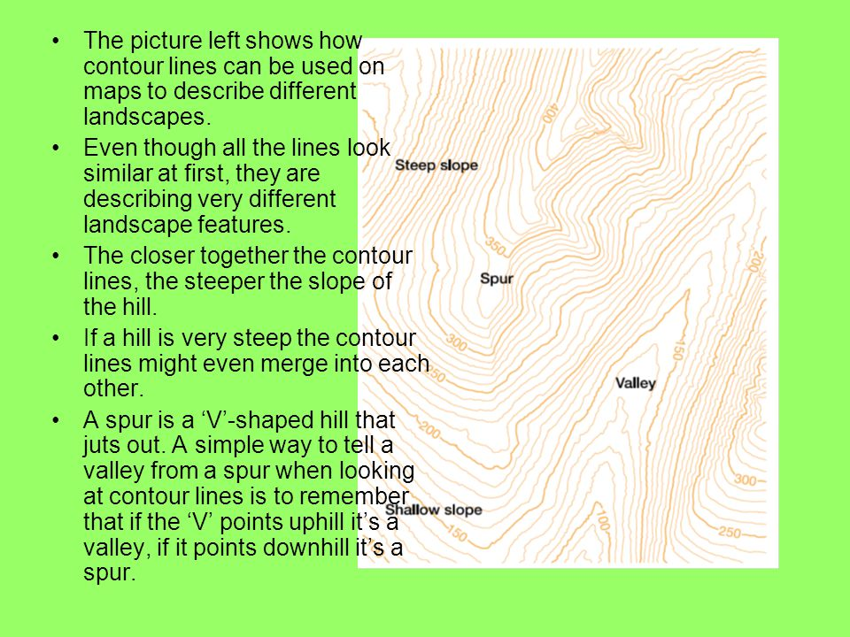 The picture left shows how contour lines can be used on maps to describe different landscapes. Even though all the lines look similar at first, they a
