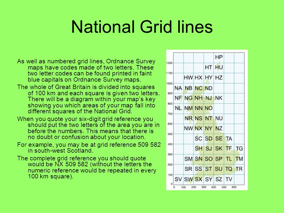 National Grid lines As well as numbered grid lines, Ordnance Survey maps have codes made of two letters. These two letter codes can be found printed i