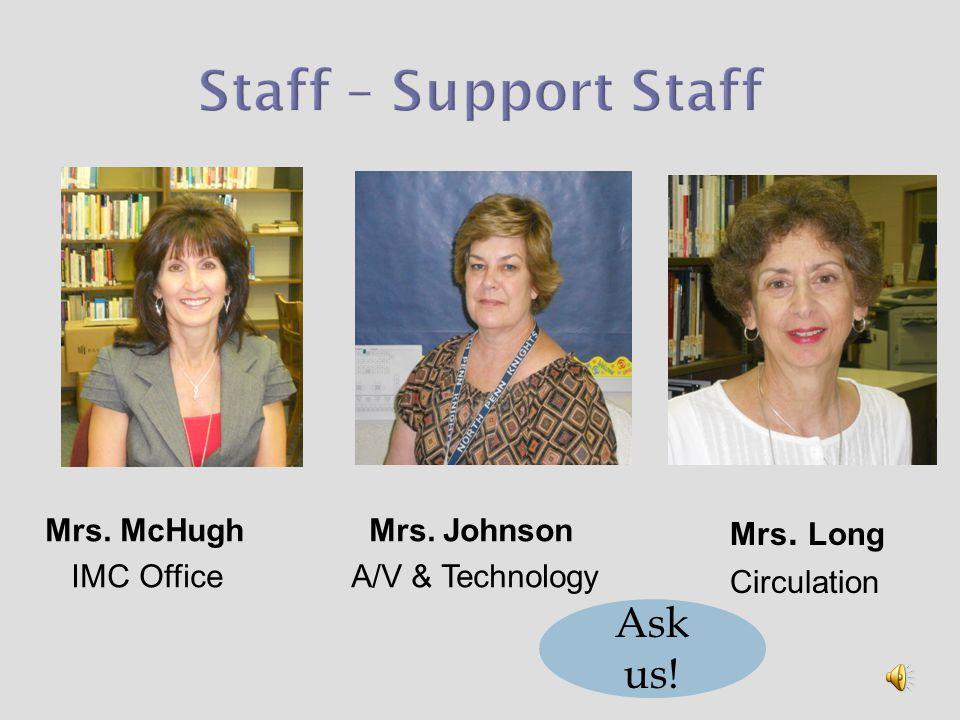 Mrs. McHugh IMC Office Mrs. Johnson A/V & Technology Mrs. Long Circulation Ask us!