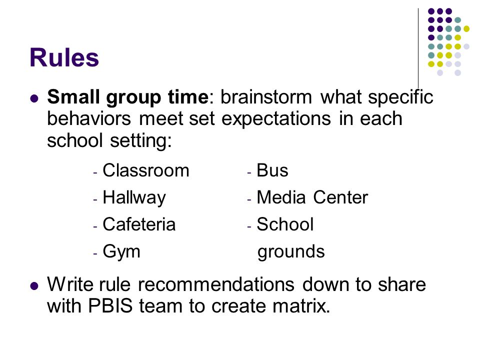 Rules Small group time: brainstorm what specific behaviors meet set expectations in each school setting: Write rule recommendations down to share with PBIS team to create matrix.