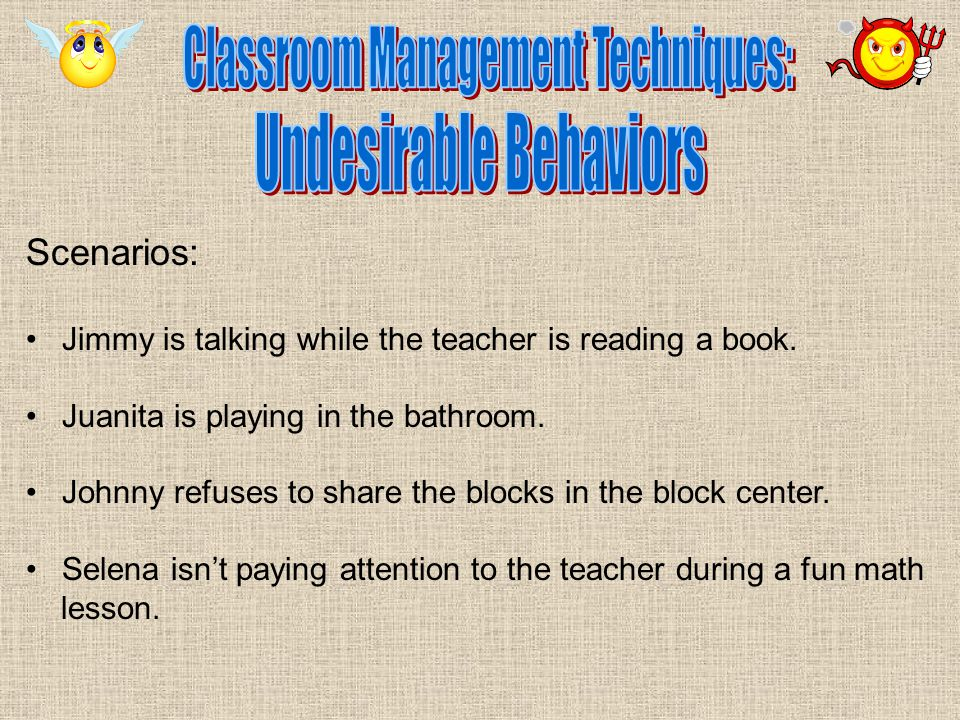 Scenarios: Jimmy is talking while the teacher is reading a book.