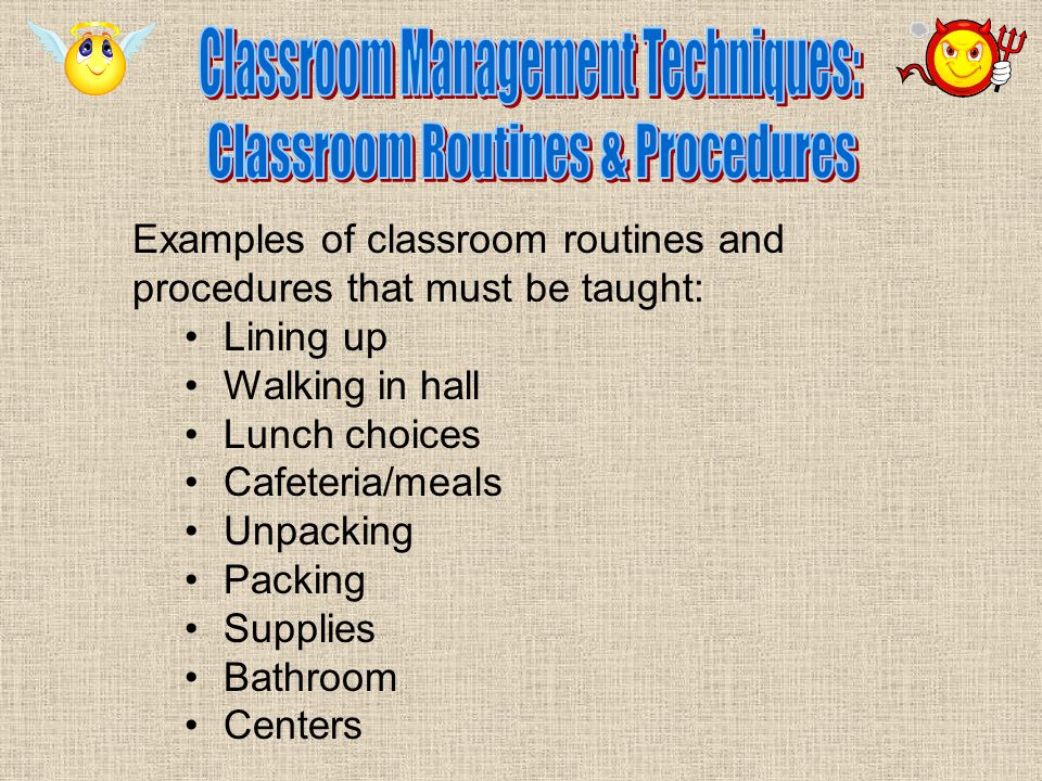 How to establish centers in the classroom: Label everything Have clearly defined centers Have appropriate materials Have enough materials Don't have too many materials Have a clear clean-up signal Have a procedure for dismissing students to centers Have a procedure for cleaning-up Have very clear rules and consequences