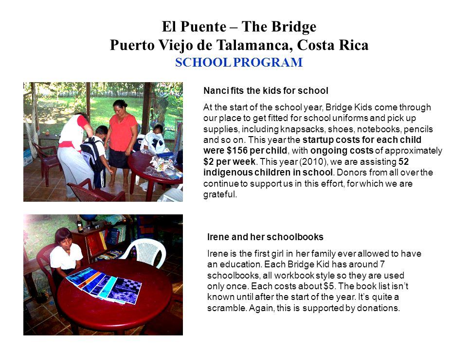 Nanci fits the kids for school At the start of the school year, Bridge Kids come through our place to get fitted for school uniforms and pick up suppl