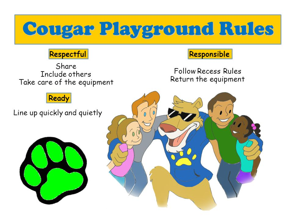 Cougar Cafeteria Rules Respectful Inside Voices Please and Thank You Hands and Feet to Yourself Responsible Clean Up Stay in Seat Eat only what you bought or brought Ready Line Up Quietly Be Ready