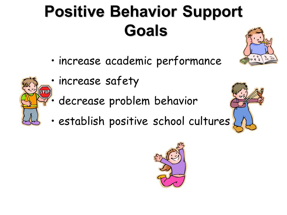 Positive Behavior Support Goals increase academic performance increase safety decrease problem behavior establish positive school cultures